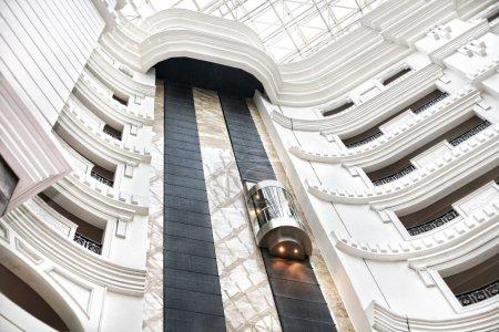 Elevator in white modern building...