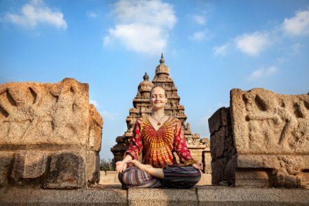 Woman doing yoga in India