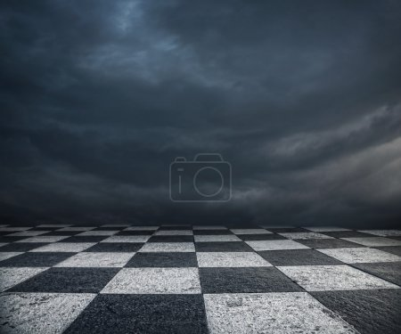 Photo for Chess floor and dramatic overcast sky premade background - Royalty Free Image