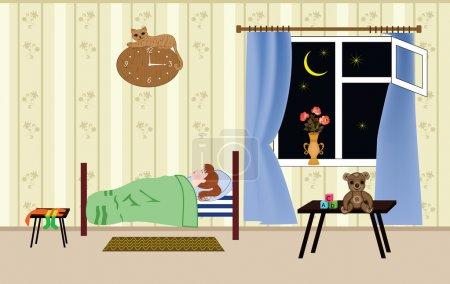 Illustration pour Fille endormie dans un endroit aéré pour - bénéficiant d'une belle le vasistas de fenêtre - image libre de droit