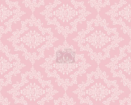 Illustration for White diamond pattern with violets on a pink background - Royalty Free Image