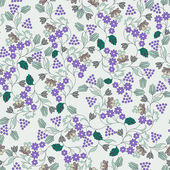Pattern with small lilac flowers and berries on light background
