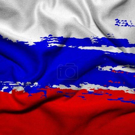 Photo pour Drapeau de grunge de la Russie, brandissant le drapeau de la Russie - image libre de droit