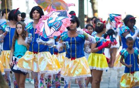 RIO DE JANEIRO - FEBRUARY 11: Young men in suits having fun in f