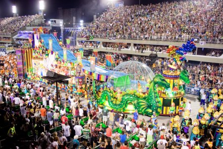 Photo for RIO DE JANEIRO - FEBRUARY 11: Show with decorations on carnival Sambodromo in Rio de Janeiro February 11, 2013, Brazil. The Rio Carnival is biggest carnival in world. - Royalty Free Image