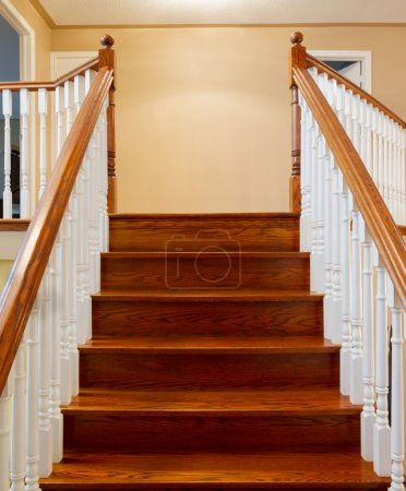 Photo for Beautiful foyer looking down hardwood stairs in new house - Royalty Free Image