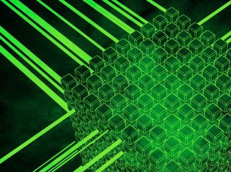 Photo pour Ensemble 3D de cubes avec flux, représentant des concepts tels que bases de données, hébergement web, transfert de données, centralisation et convergence - image libre de droit