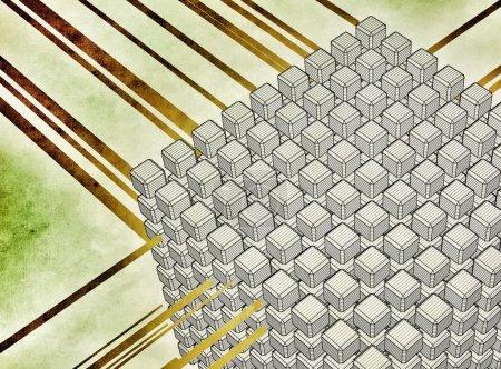 Photo pour Ensemble de cubes interconnectés modélisés en 3D et une flèche circulaire, représentant des notions telles qu'Internet, réseau, base de données, synchronisation ou systèmes informatiques - image libre de droit