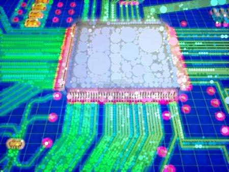 Photo pour Illustration grossière d'un circuit imprimé composé de cercles multicolores, se référant à des notions telles que les nouvelles technologies, l'électronique, la science, l'industrie, ainsi que l'ingénierie - image libre de droit