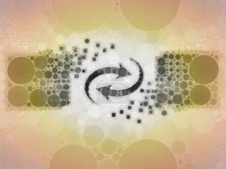 Photo pour Représentation grossière d'un ensemble interconnecté de cubes avec quelques flèches circulaires entre les deux, représentant des notions telles qu'Internet, réseau, base de données, synchronisation ou échange et renouvellement - image libre de droit