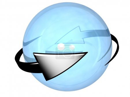 Photo pour Quelques flèches cycliques grises, tournant perpétuellement autour d'une sphère bleue semi-transparente, se référant à des concepts tels que représenter des notions telles que le processus de synchronisation, le renouvellement, la répétition et la rotation - image libre de droit