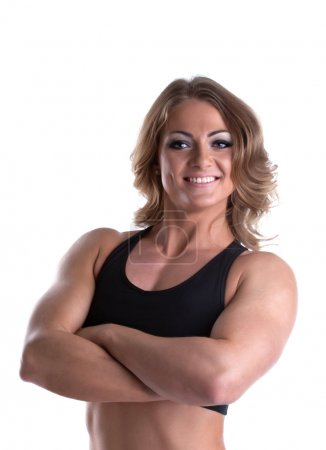 Strong woman body builder portrait