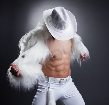 striptease dancer undress white fur cowboy costume