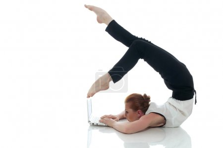 Busy woman posing with notebook in unreal pose