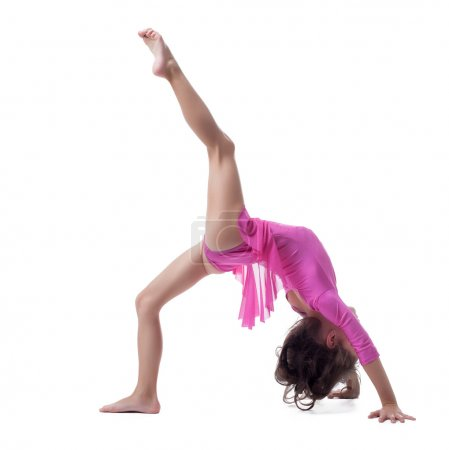 Flexible little girl doing gymnastic bridge