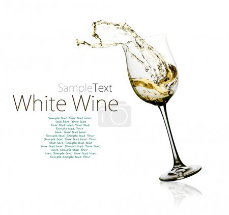 Photo for Glass of white wine with splashes on a w - Royalty Free Image