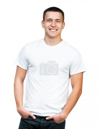 Photo for White t-shirt on a young man isolated - Royalty Free Image