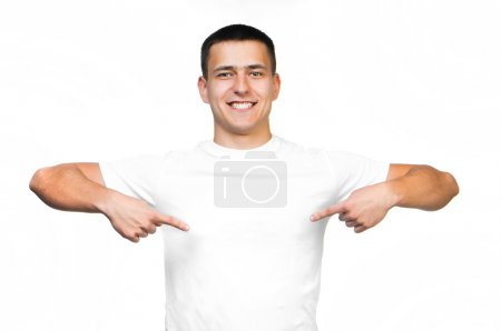 Photo for White t-shirt on a young smiling man isolated - Royalty Free Image