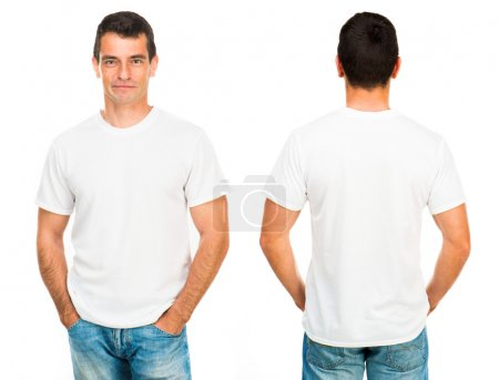 Photo for White t-shirt on a young man isolated, front and back - Royalty Free Image