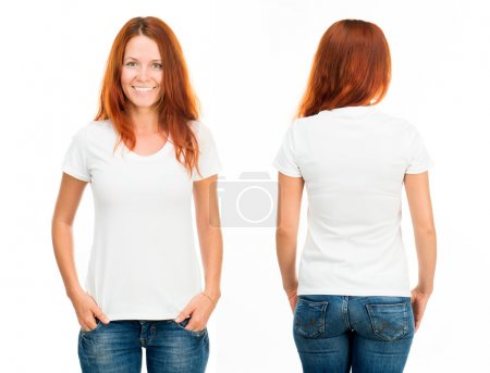 Photo for White t-shirt on a smiling girl, front and back - Royalty Free Image