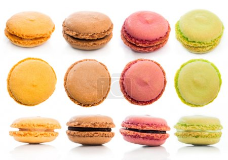 Photo for Set of tasty cookies macaroon isolated on a white background - Royalty Free Image