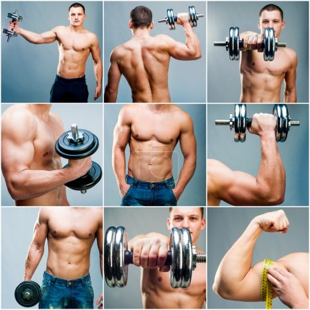 Photo for Set images of muscular man with dumbbells on a gray background - Royalty Free Image