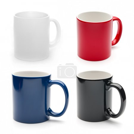 Photo for Set of different mugs isolated on a white background - Royalty Free Image