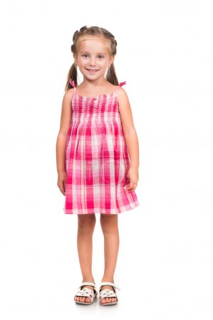 Photo for Cute smiling little girl isolated on white background - Royalty Free Image