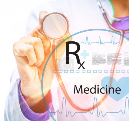 Photo for Doctor's hands with stethoscope - Royalty Free Image