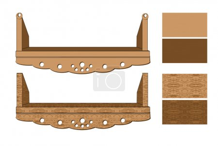 Wooden shelves on a white background. vector illustration