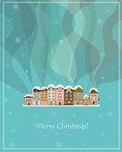 Winter smoking country houses christmas card