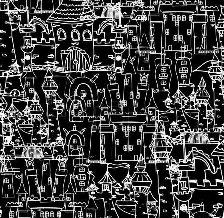Illustration pour Fond noir et blanc sans couture avec architecture - image libre de droit
