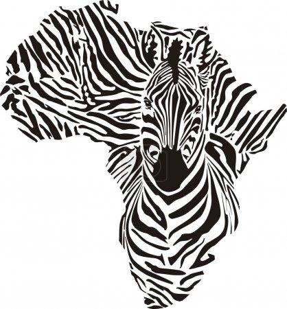 Illustration pour Continent noir dans un camouflage de zèbres - image libre de droit