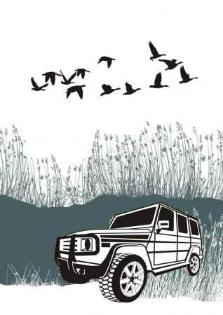 Illustration for Vector illustration offroad car in overcoming obstacles in nature - Royalty Free Image