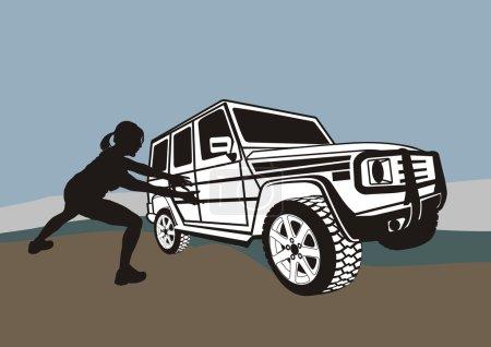 Large terrain car and weak woman
