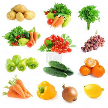 Photo for Collection of fresh vegetables and fruits isolated on a white background - Royalty Free Image