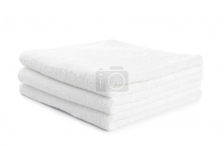 Photo for Stack of white towels isolated on white - Royalty Free Image