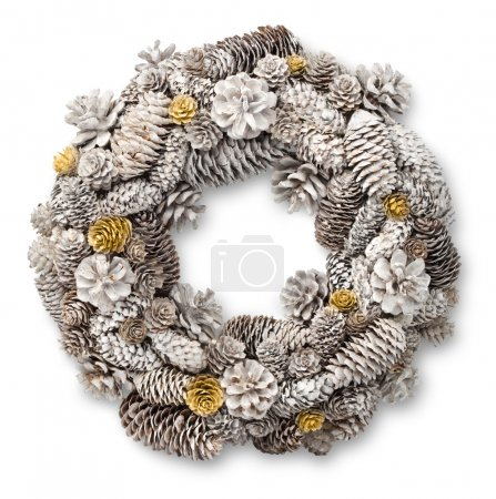 Photo for White Christmas door wreath decoration made of pine and fir cones - Royalty Free Image