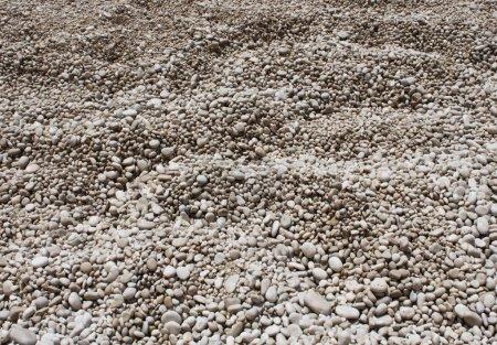 Photo pour Plage de galets blanche ronds fond texture pierres - image libre de droit
