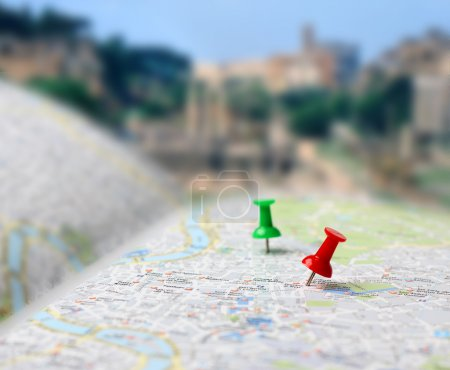 Photo for Push pins pointing planned travel destinations on tourist map, blurred background - Royalty Free Image
