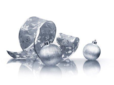 Silver ribbon and Christmas balls