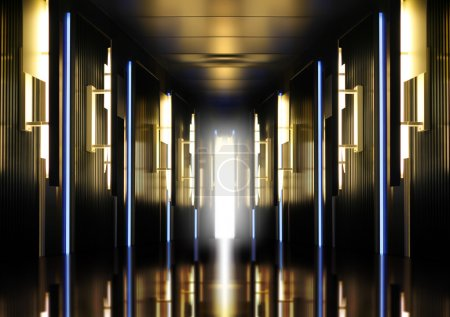 Photo for Futuristic perspective hallway modern corridor illuminated - Royalty Free Image