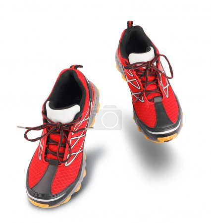 Photo for Red running sport shoes isolated on white background - Royalty Free Image