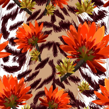 Tiger skin with tropical flowers