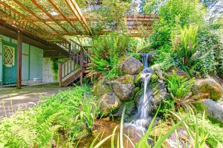 Beautiful wild style pond with waterfall. Farm house backyard