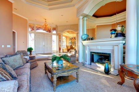 Photo pour Riche grand salon avec cheminée réalisée avec un mobilier rustique et antique, colomns et grand plafond conçu - image libre de droit