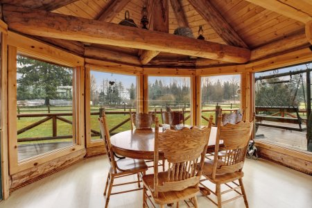 Beautiful dining room in log cabin house