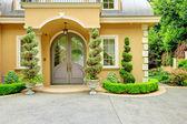 Luxury house exterior. Front door