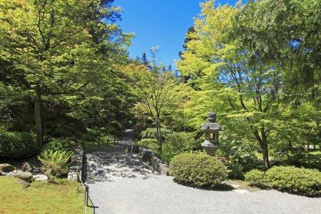 Photo pour Jardin japonais à seattle, wa. Pierre sentier dans les bois. - image libre de droit