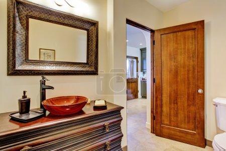 Luxury bathroom vanity cabinet with vessel sink
